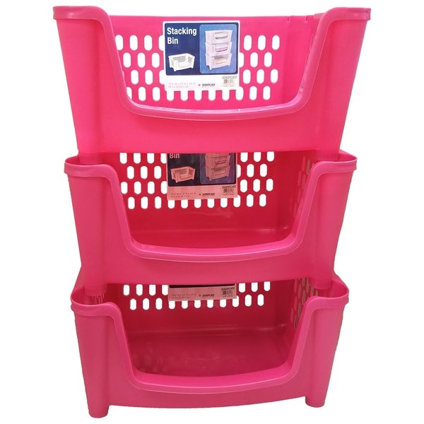 Medium Stack 'N Nest Storage Basket / Bin - 3 Pack - Pink
