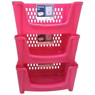 Medium Stack 'N Nest Storage Basket / Bin - 3 Pack - Pink