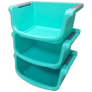 3 Pack Stacking Bin Teal