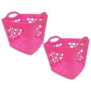 Square Flex Laundry Basket, 2pk, Pink