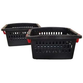 Medium Stacking Storage Baskets - 2 Pack - Black