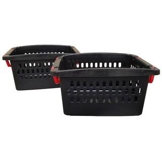 Medium Stacking Storage Baskets - 2 Pack - Black