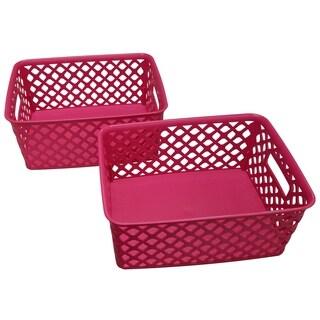 Small Deco Basket   2 Pack   Fuchsia