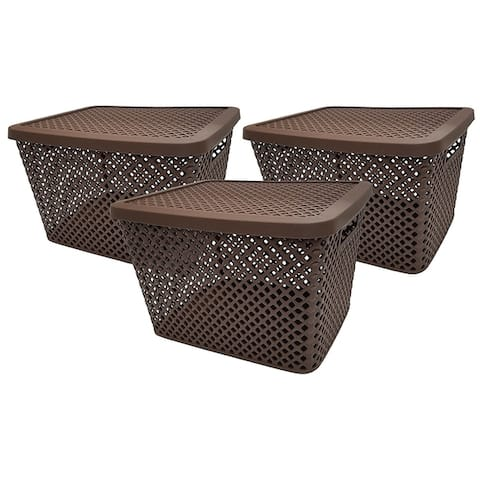Big Baskets - 3 Pack w/Lids Brown