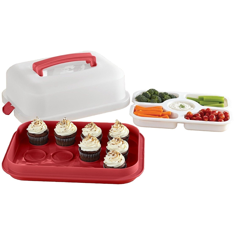 4 Piece Specialty Food Storage Set, Red (Plastic)