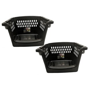 Large Stacking Storage Baskets - 2 Pack - Black