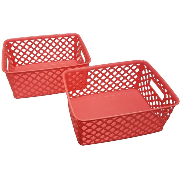 Genial Shop Small Deco Basket   2 Pack   Coral   Free Shipping On Orders Over $45    Overstock   19401339