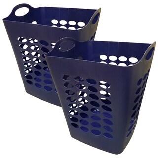 Flexible Square Laundry Hamper Basket - 2 Pack - Navy