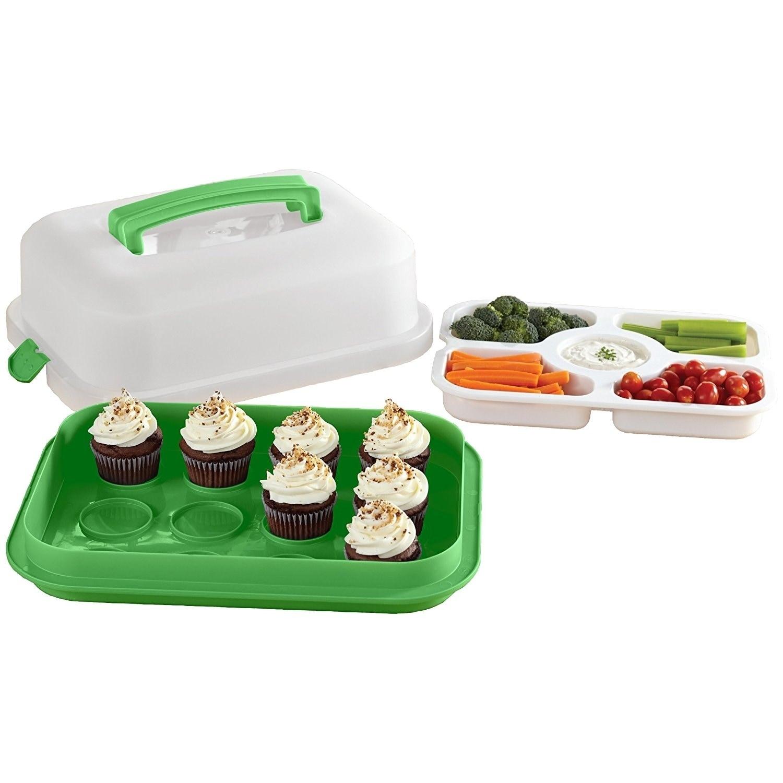 4 Piece Specialty Food Storage Set, Green (Plastic)