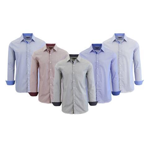 Galaxy By Harvic Men's Long Sleeve Micro-Pinstripe Slim Fit Dress Shirts