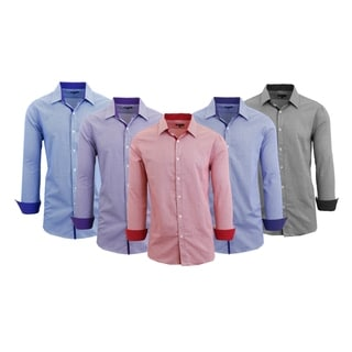 Link to Galaxy by Harvic Men's Long Sleeve Patterned Dress Shirts Similar Items in Shirts