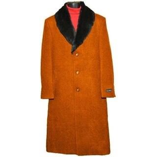 Men's Rust Orange Casual Wear Overcoat with Luxurious Fur Collar