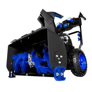 Snow Joe ION8024-XR Cordless Two Stage Snow Blower 24-Inch 80 Volt 2 x56 Ah Batteries 4-Speed Headlights - Blue
