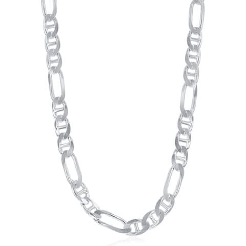 La Preciosa Sterling Silver Italian Rhodium Plated 200 Figaro 7.3mm Gucci Chain
