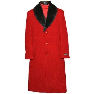 Men's Red Casual Wear Overcoat with Removable Fur Collar