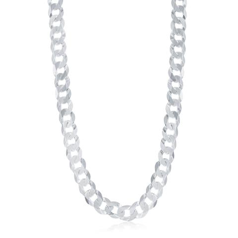 La Preciosa Sterling Silver Italian Rhodium Plated 300 Curb 13.8mm Cuban Chain
