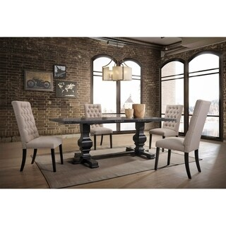 Best Master Furniture Rustic Black Wood Dining Table with 4 Taupe Chairs