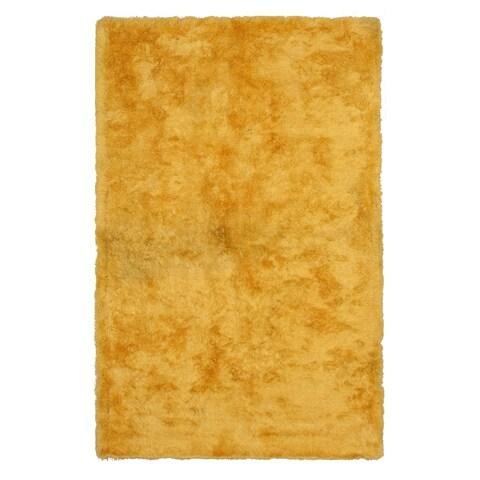 "Handmade Yellow Solid London Shag Rug - 7'9"" x 9'9"""