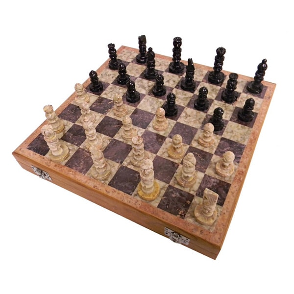 Case of 2 Soapstone Chess Sets (India)