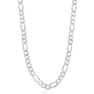 La Preciosa Sterling Silver Italian Rhodium plated 140 Figaro 5.8mm Chain
