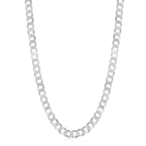 La Preciosa Sterling Silver Italian Rhodium Plated 100 Curb 4.4mm Cuban Chain