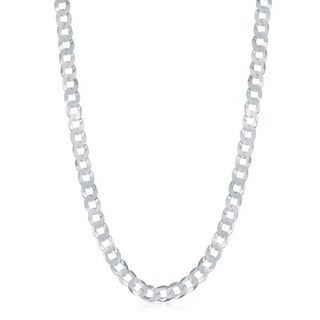 La Preciosa Sterling Silver Italian Rhodium Plated 100 Curb 4.4mm Cuban Chain