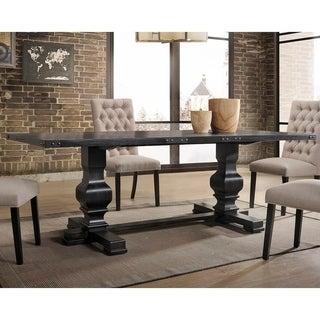 Best Master Furniture Black Wooden Rectangular Rustic Dining Table