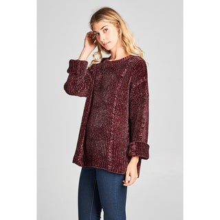Spicy Mix Norah Distressed Chenille Long Sleeved Sweater