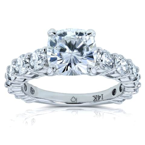 Annello by Kobelli 14k Gold 3 2/5ct TGW Cushion Forever One Moissanite and Diamond Classic Engagement Ring