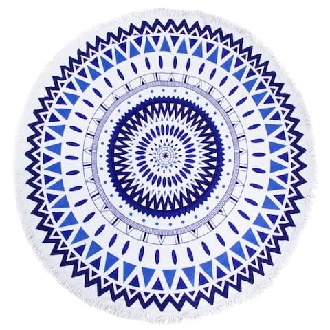 "Leisureland Round Beach Towel 65""X65"" Blue Abstract Print with Fringe"