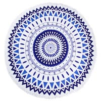 "Leisureland Round Beach Towel 65""X65"" Blue Abstract Print with Fringe"