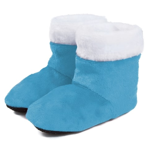 Leisureland Kids Fuzzy Bootie Slippers, Boys and Girls (3-6 Years)