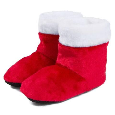 Leisureland Kids Fuzzy Bootie Slippers, Boys and Girls (3-6 Years)