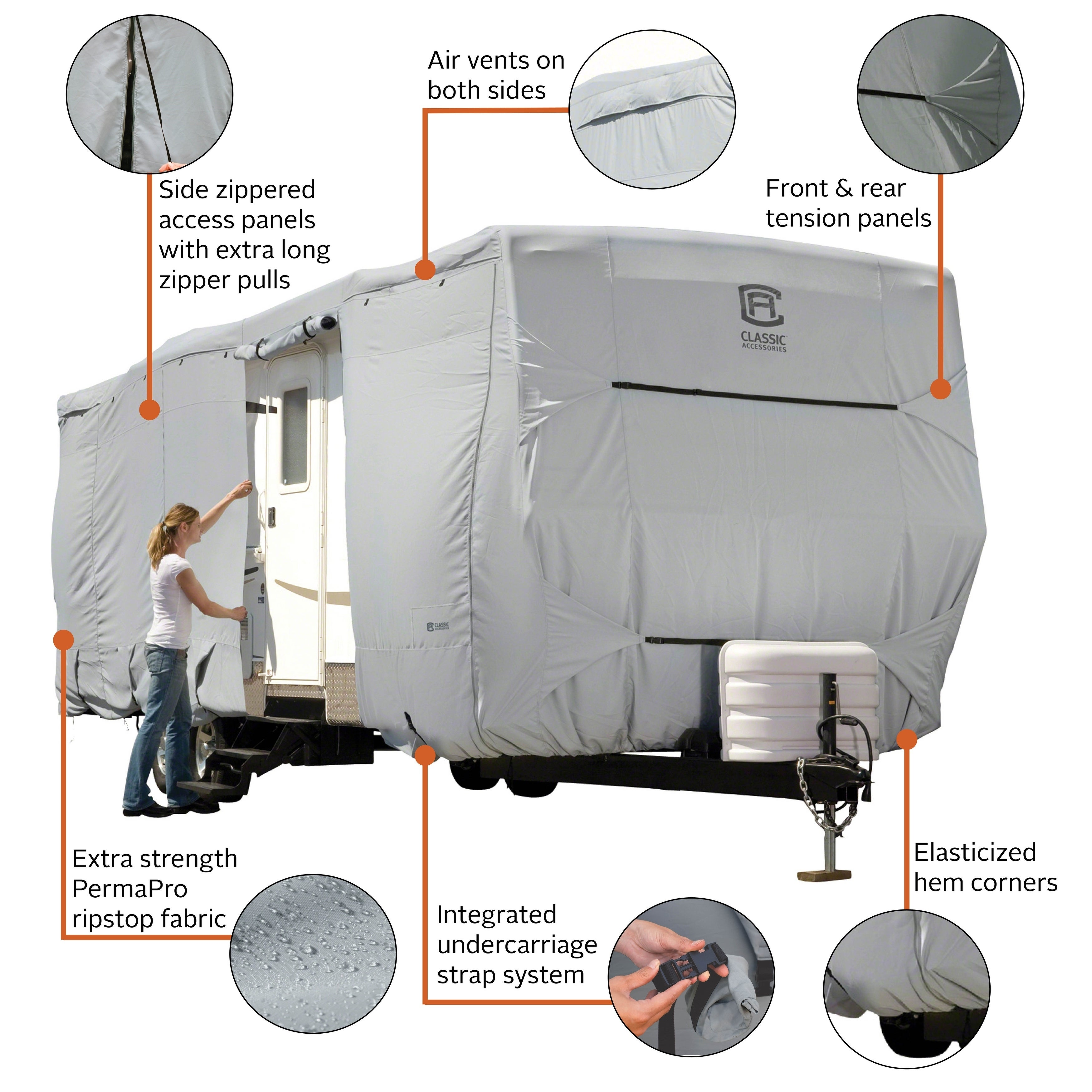 Classic Accessories OverDrive PermaPro Heavy Duty Cover for 33 to 35 Travel Trailers 80-325-201001-RT