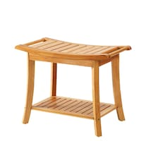 Belmint Deluxe Bamboo Shower Seat Bench with Storage Shelf - Free ...