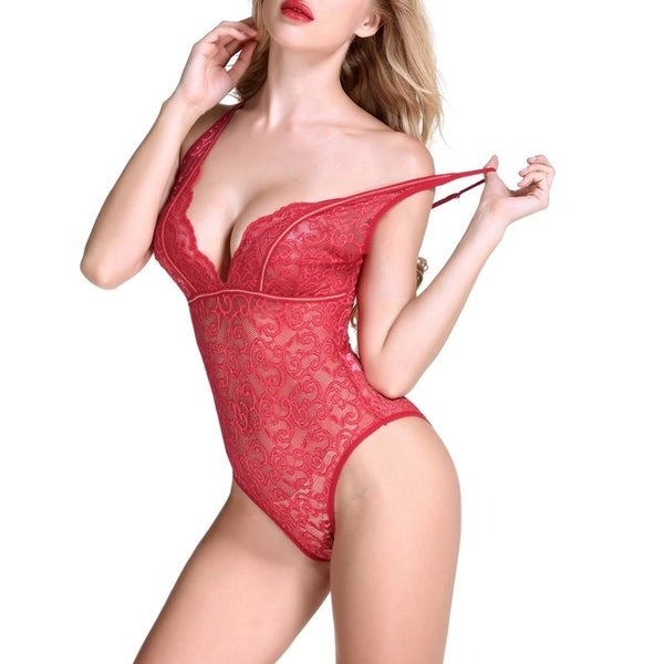 0302fcaf20cf Sexy Teddy Lingerie for Women Onepiece Halter Bodysuit with Bean Flower  Lace and Strappy Trim