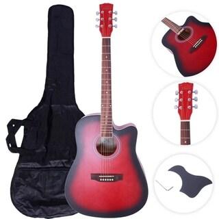"41"" Practice Beginner Spruce Folk Acoustic Guitar Red"