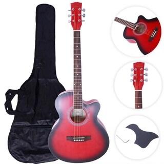 "GT501 40"" Practice Beginner Spruce Folk Acoustic Guitar Red"