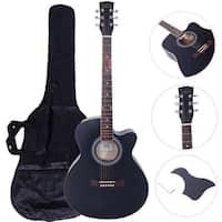 "GT501 40"" Practice Beginner Spruce Folk Acoustic Guitar Black"