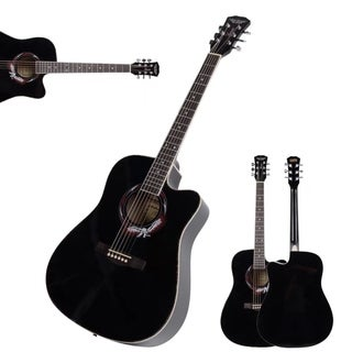 41 Inch Adult Size 20 Frets Cutaway Acoustic Guitar Black for Beginner