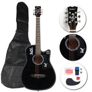 New Black Basswood Acoustic Guitar +Bag+String+Pick+Tuner Accessories