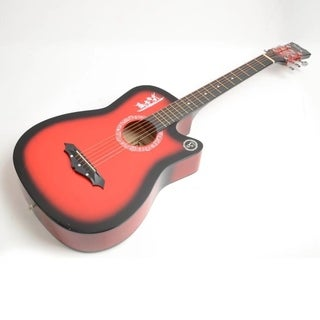 New Red Basswood Acoustic Guitar +Bag+String+Pick+Tuner Accessories