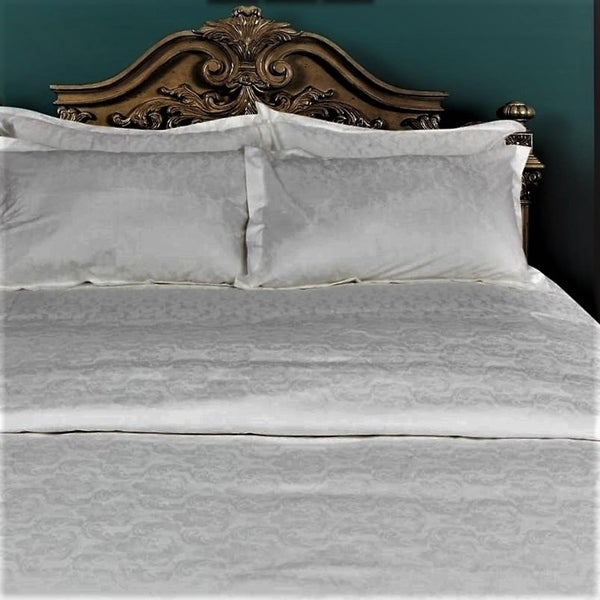 Just Linen 300 Thread Count 100% Egyptian Quality Cotton, Jacquard Damask  Bedding Sheet Set