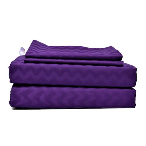 Just Linen 300 Thread Count 100% Egyptian Quality Cotton, Jacquard Damask Bedding Sheet Set with Deep Pocketed Fitted Sheet.