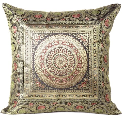 Indian Brocade Kantha Bohemian Couch Cushion Pillow Cover - 16""