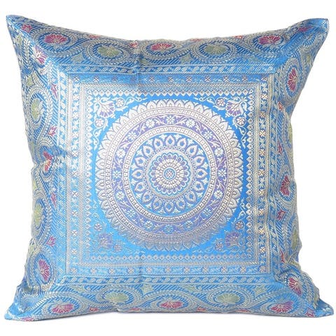 """Indian Brocade Kantha Bohemian Couch Cushion Pillow Cover - 16"""""""