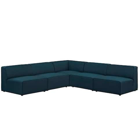 Mingle 5 Piece Upholstered Fabric Sectional Sofa Set