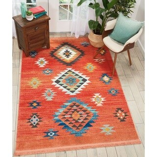 Nourison Tribal Decor Orange/Multi Medallion Area Rug - 5'3 x 7'6