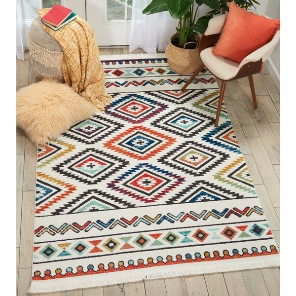 "Nourison Tribal Decor Multicolor/White Aztec Rug - 5'3"" x 7'6"""