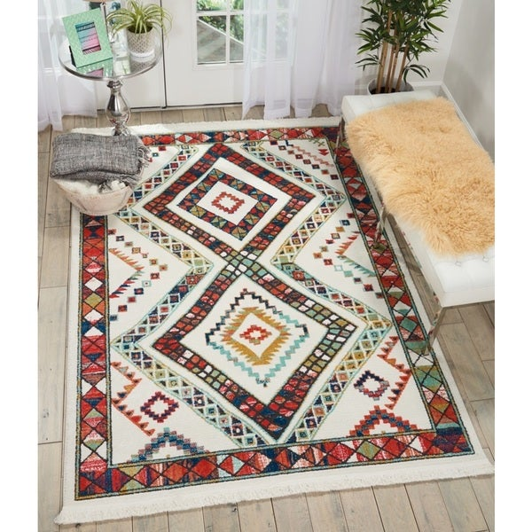Nourison Tribal Decor Diamond Multicolor/White Rug - 5'3 x 7'6